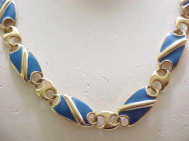 Pretty Blue Enamel Necklace - Monet