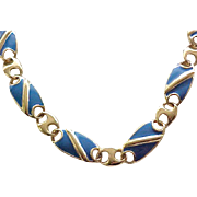 Pretty Blue Enamel Necklace - Monet