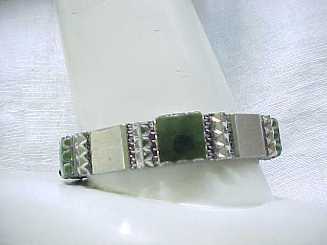 02 - Good Looking Silvertone Bracelet with Green Stones