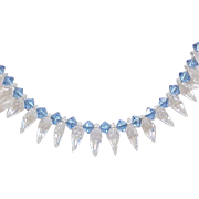 Lovely Czech Necklace - Blue and Clear Crystal Briolettes