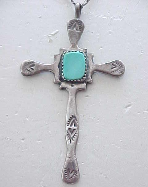 Sterling Silver Cross Necklace with Turquoise Center