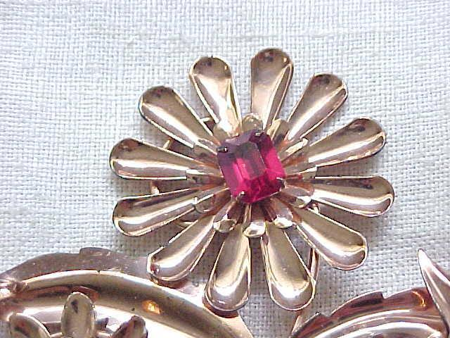 Spectacular Retro Sterling Flower Pin - Gold Vermeil