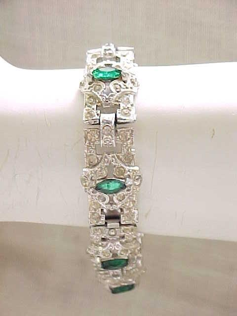Art Deco Rhinestone Bracelet - Green Navettes