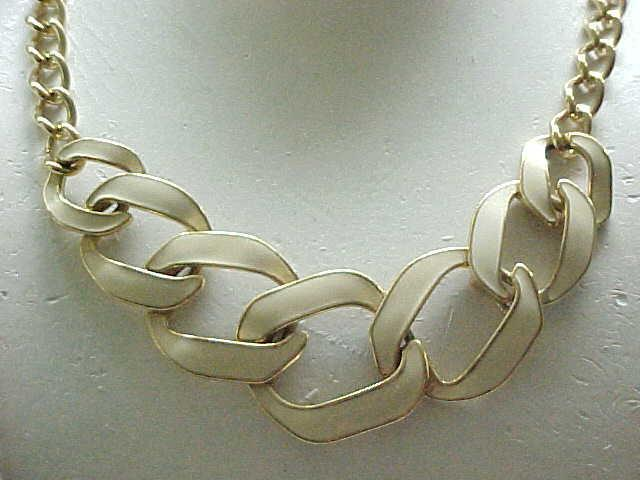 Pretty Cream Enamel & Goldtone Necklace - Monet