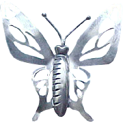 Huge Sterling Silver Butterfly Pin and Earrings