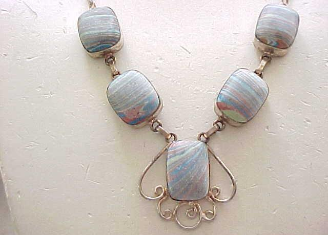Sterling Silver Necklace with Sandcast Stones