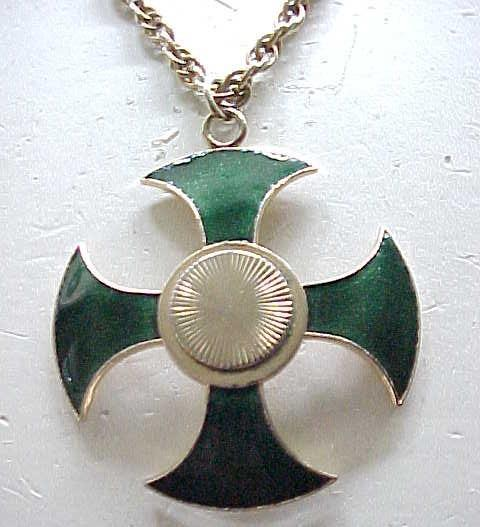 02 - Coro Green Enamel Maltese Cross Necklace - Pegasus Mark