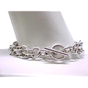 Chunky Double Chain Sterling Silver Bracelet - 44 Grams