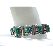 Sterling Silver and Green Onyx Mayan Mask Bracelet - 930 Silver