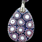 Deep Blue Millefiori Pendant on Silvertone Chain