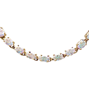 Sparkling Necklace - Sterling with Gold Vermeil, Aurora Borealis Stones
