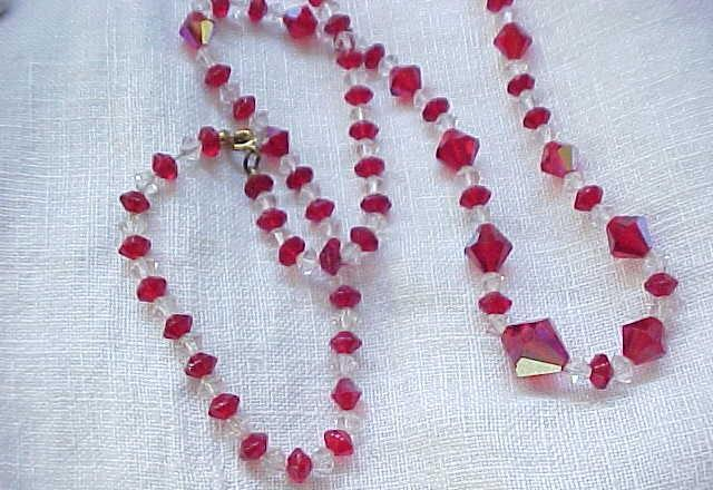 12 - Pretty Red & Clear Crystal Necklace - Glass Beads