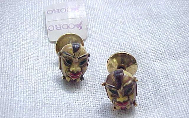 12 - Pair Coro Oriental Face Pins - Original Tag