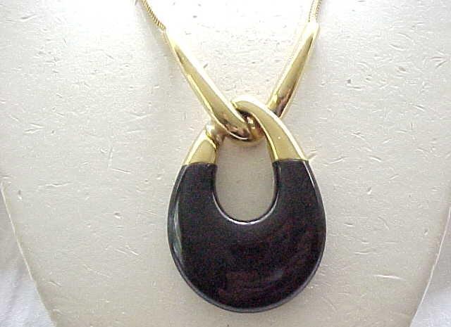 Substantial Crown Trifari Pendant Necklace - Black, Goldtone