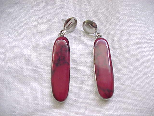 Gorgeous Sterling Silver, Red Jasper Earrings - Pierced Ears