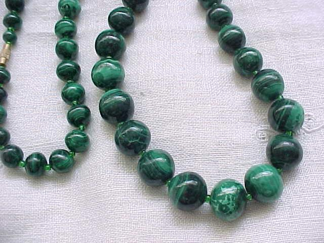 Fantastic Malachite Bead Necklace - Large Beads