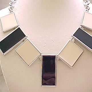 Architectural Black & Cream Enamel Necklace - Monet - Runway