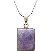 Sterling Pendant Necklace with Purple Natural Stone - Gorgeous!