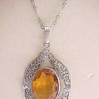 Exquisite Filigree Necklace with Amber Rhinestone