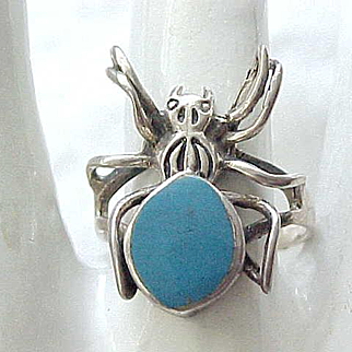 Sterling & Turquoise Spider Ring - 8 1/4 - Halloween