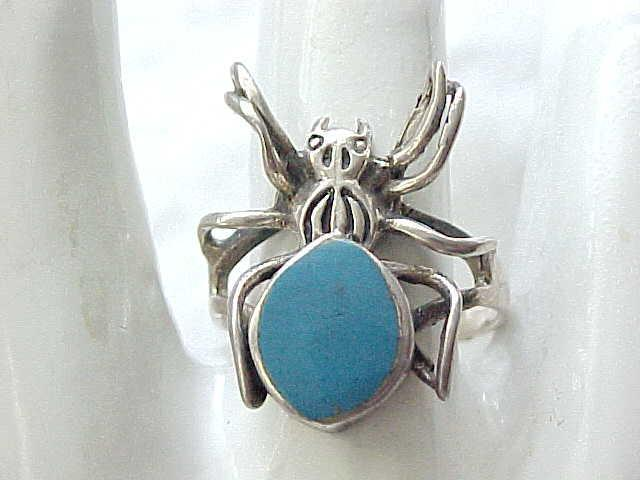 03 - Sterling & Turquoise Spider Ring - 8 1/4 - Halloween