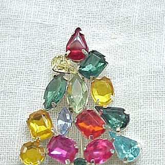 Christopher Radko Christmas Tree Pin - Colorful Rhinestones