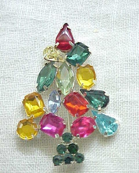Christopher Radko Christmas Tree Pin - Colorful Rhinestones