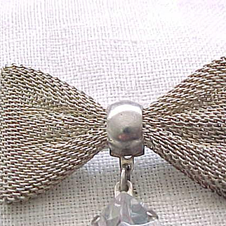 Sterling Silver Mesh Bow Pin with Faux Jewel Pendant