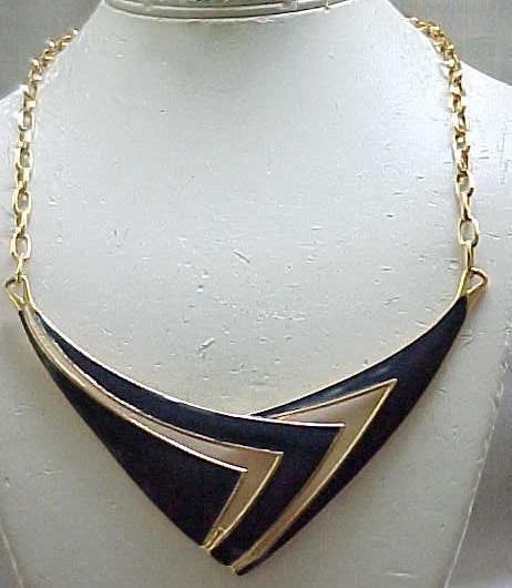 Monet Navy Blue Enamel Mod Necklace