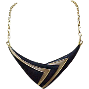 Monet Navy Blue Enamel Mod Necklace