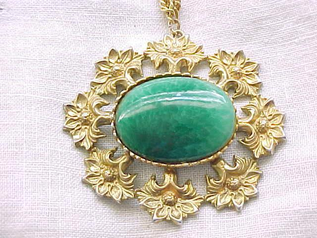Over Sized Pendant Necklace - Floral, Green Stone