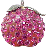 Forbidden Fruit Raspberry Pin and Earrings - Lucite