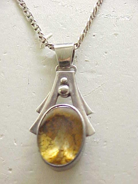 Sterling & Amber Pendant Necklace