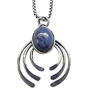 01 - Dainty Sterling and Lapis Pendant Necklace Box Chain