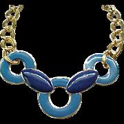Blue on Blue Monet Enamel Necklace