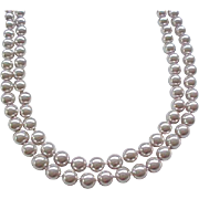 Beautiful Faux Pearl Necklace - Pale Gray - Extra Long