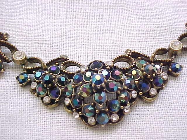 Fabulous Florenza Iridescent Rhinestone Necklace and Earrings