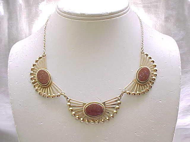 Trendy Gold Filled Necklace, Earrings with Gorgeous Goldstones