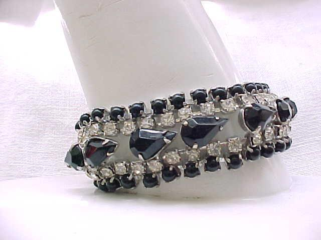 Elegant Black & Diamante Rhinestone Bracelet - Holidays, Weddings, Special Occasions