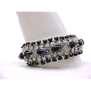 Elegant Black & Diamante Rhinestone Bracelet - Holidays, Weddings, Special Occasions