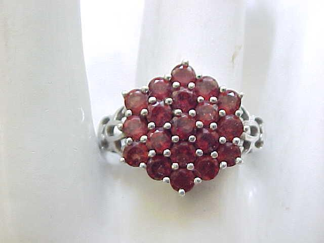 Sterling Silver & Garnet Ring - size 10 1/4