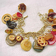 Delightful Bakelite Button Charm Bracelet
