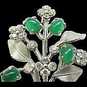 Delightful Krementz Pin & Earrings - Silvertone Metal with Rhinestones, Green Glass