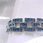 Stunning Art Deco Bracelet - Sapphire Blue Rhinestones
