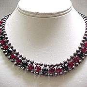 Spectacular Red & Black Rhinestone Necklace