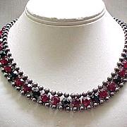 Spectacular Red & Black Rhinestone Necklace