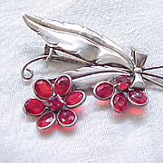 Fabulous '40's Red Rhinestone & Sterling Spray Brooch