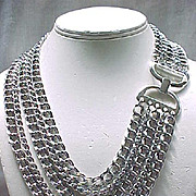 5 Strand Napier Silvertone Necklace - Fab Clasp - Statement Piece