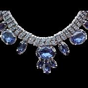 Sapphire Blue Rhinestone Necklace, Bracelet, Earrings - Outstanding