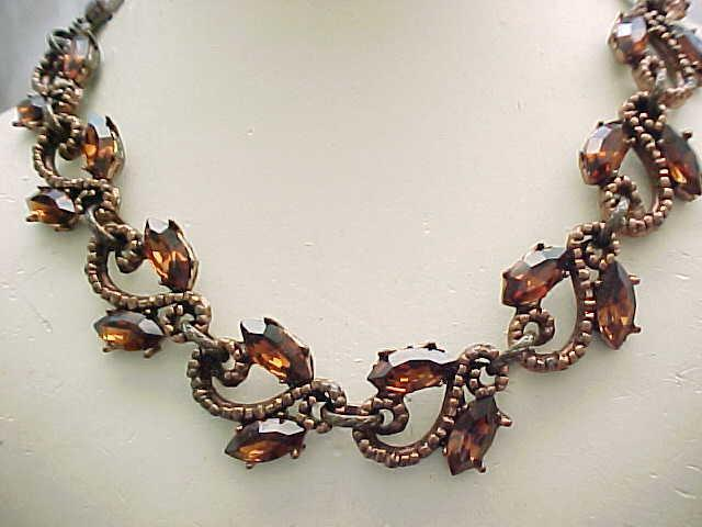 Stunning Topaz Rhinestone Necklace - Substantial